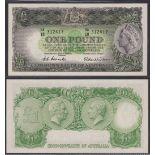 Australia-Commonwealth Bank 1953-60, One pound, HA18 312417, Coombs-Wilson signature, P30, R33,