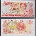 New Zealand-Reserve Bank 1981-85, Five Dollars, JAA 000179 Orange, Hardie Chief Cashier signature,