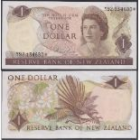 New Zealand-Reserve Bank 1981-85, One Dollar, Y92 134680 Brown, Hardie, Chief Cashier signature,