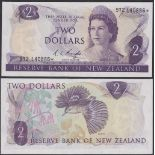 New Zealand-Reserve Bank 1981-5, Two Dollars 9Y2 140886 Purple, Knight, Chief Cashier signature