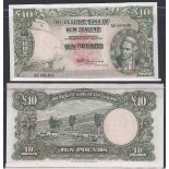 New Zealand-Reserve Bank 1956-67, Ten Pounds, R199110 Green, Captain Cook at Right, Fleming