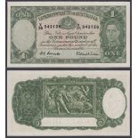 Australia-Commonwealth Bank 1952, One Pound X25542128 Coombs-Wilson signatures, Consecutive numbers,
