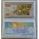 New Zealand-Reserve Bank 2000 Millennium Special Edition Banknote, Set 5,10(2),20,50 and 100 Dollars