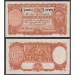 Australia-Commonwealth Bank 1952, Ten Shillings, B5.232986, Coombs-Wilson signatures, P25d, R15,