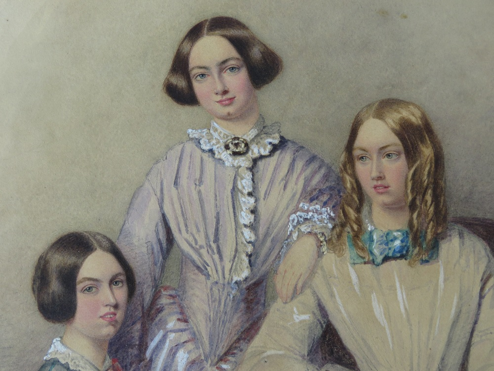 Feminist Masterpiece - A delightful and charming watercolour portrait study on 'rag' paper of three - Image 2 of 11