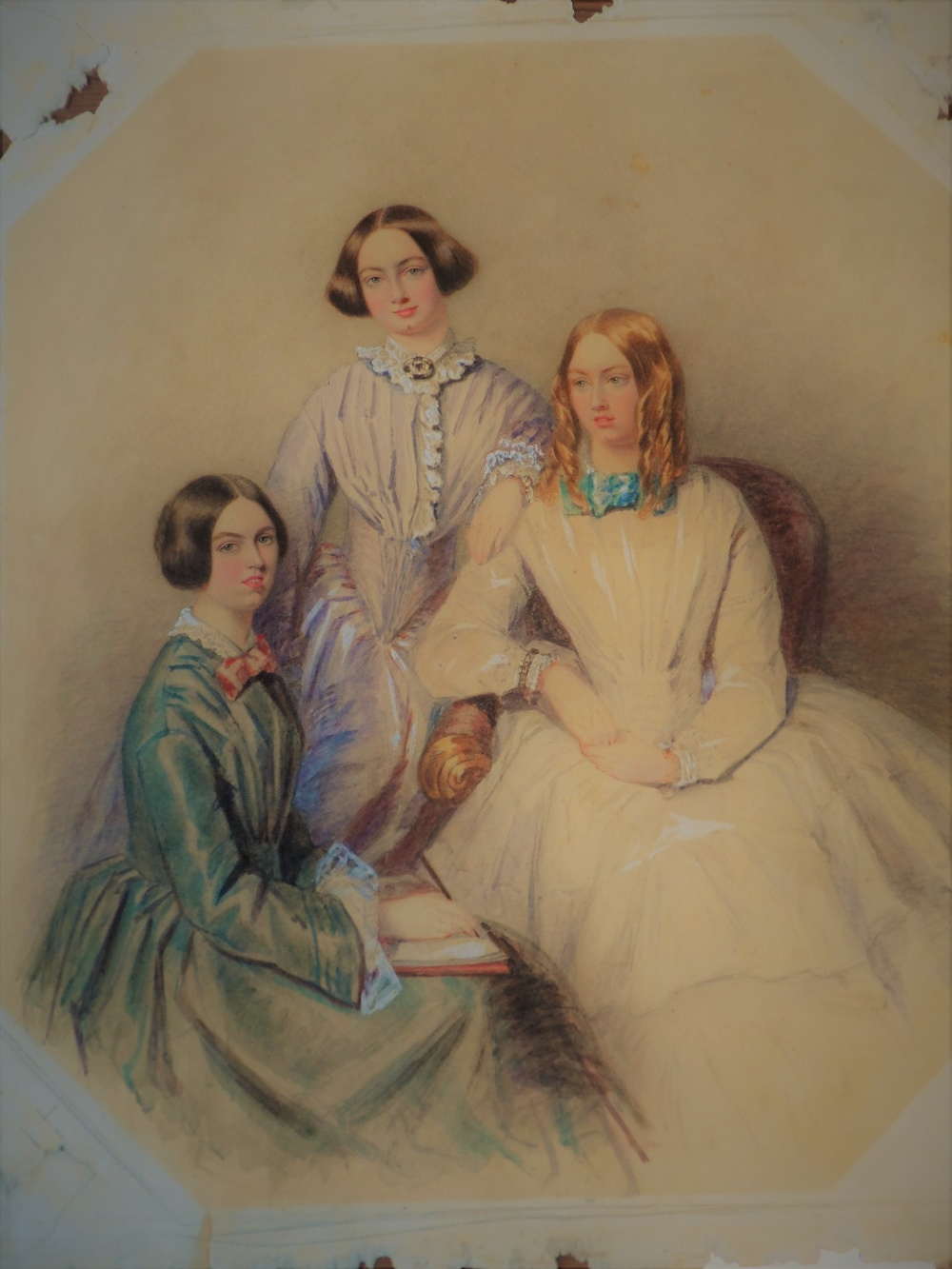 Feminist Masterpiece - A delightful and charming watercolour portrait study on 'rag' paper of three