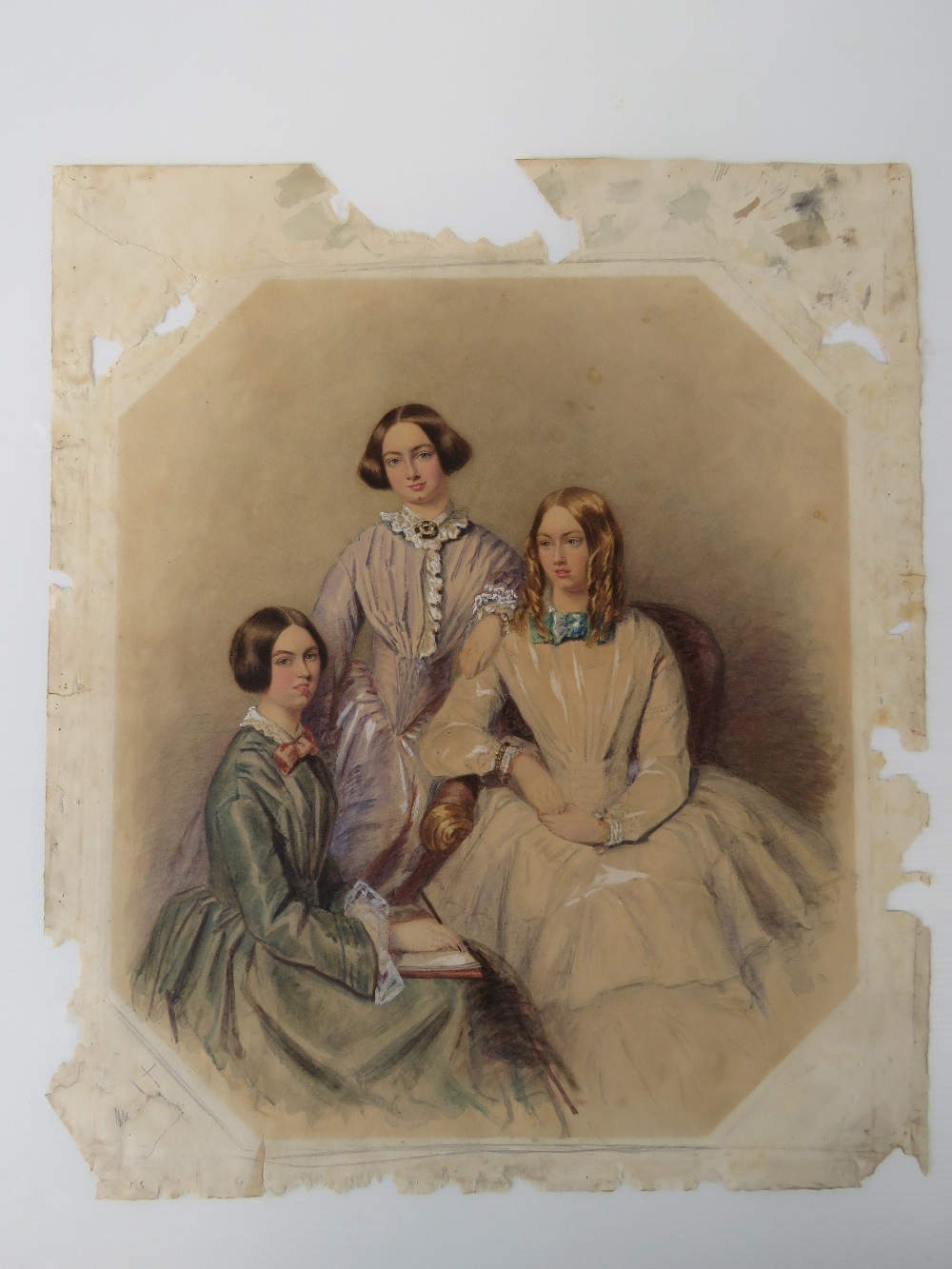 Feminist Masterpiece - A delightful and charming watercolour portrait study on 'rag' paper of three - Image 3 of 11