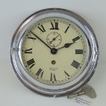 "A good chrome-plated bulkhead clock ""Smith's Empire"" pattern c1940s/1950s;"