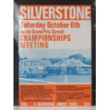 A poster advertising Silverstone Championships Meeting - October 6th 1963, 58 x 42cm.