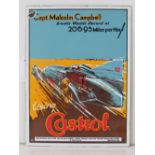 """A very fine reproduction enamel advertising sign, """"Capt. Malcolm Campbell breaks world record..."""