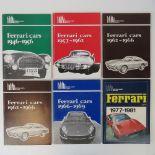 Brooklands Books; six volumes of Ferrari cars 1946-66, 1957-62, 1962-66 (x2), 1966-69, and 1977-81.