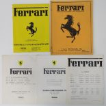 A Ferrari January 1977 UK price list, together with a Ferrari guide to production cars since 1959,