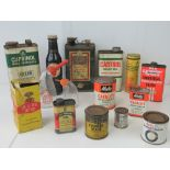 A group of pre-war and mid-20thC Garage tins, pourers and dispensers etc.