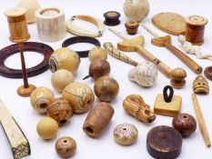 A COLLECTION OF WORKED BONE HORN AND IVORY ARTIFACTS TO INCLUDE BEADS, BOXES, BANGLES, RINGS,