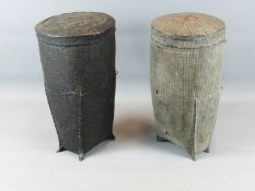 TWO SIMILAR ORIENTAL WOVEN AND LACQUERED TALL BASKETS WITH COVERS.49 CM TALL