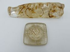 A CHINESE ARCHAISTIC CARVED ROCK CRYSTAL PIG 11.5 CM . AND SMALL ROCK CRYSTAL SQUARE TABLET 4.2