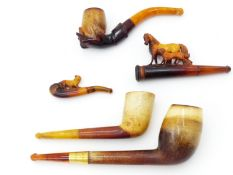 "A LARGE MEERSCHAUM PIPE WITH AMBER MOUTHPIECE GOLD COLLAR INSCRIBED ""Arthur Terry 187th R.I."