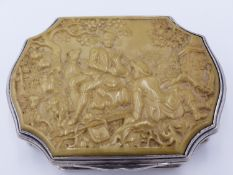 A CONTINENTAL SILVER AND IVORY SMALL BOX OF SHAPED OUTLINE, THE TOP CARVED WITH SCENE OF HUNTERS