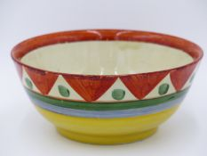 """A CLARICE CLIFF FOR NEWPORT POTTERY, AN EARLY BIZARRE SERIES BOWL , RED SCRIPT """"BIZARRE"""" TO BASE."""