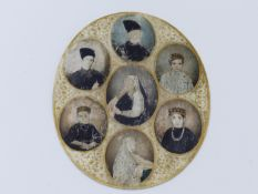 A MIDDLE EASTERN MINIATURE PORTRAIT FAMILY GROUP ON OVAL IVORY PANEL.11CM. 19TH CENTURY.