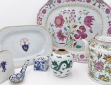 A CHINESE FAMILLE ROSE DECORATED PLATTER, A SMALLER PLATTER WITH EUROPEAN ARMORIAL AND A SMALL TEA