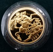 A 22CT GOLD PROOF £2 TWO POUND COIN 1987 ROYAL MINT NO. 00120