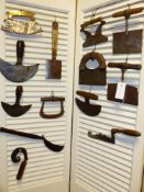 A COLLECTION OF ENGLISH AND EUROPEAN HERB CHOPPERS, CLEAVERS AND CUTTERS, VARIOUSLY MOUNTED WITH