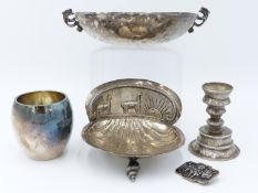 AN EARLY SILVER BOWL WITH DRAGON FORM HANDLES, INDISTINCT HALLMARKS TOGETHER WITH A SOUTH AMERICAN