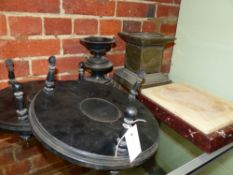 TWO 19TH CENTURY EBONISED BOWL STANDS, A RED AND WHITE MARBLE DISPLAY PLINTH AND A BRASS SCULPTURE
