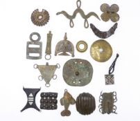 A CAST BRONZE SUN PENDANT, DOGON PEOPLE MALI, TWO SIMILAR EXAMPLES, A COPPER PENDANT, ARUSI -