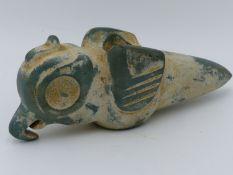 A CARVED GREEN STONE MACE HEAD OF PRE-COLUMBIAN STYLISED PARROT FORM, POSSIBLY COSTA RICA, APPROX