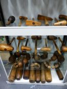 A LARGE COLLECTION OF TREEN, HARDWOOD PLUMBERS FORMS, WEDGE MALLETS, LARGE BEADS, LARGE BULLET