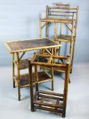 A GROUP OF VICTORIAN BAMBOO AND LACQUER FURNITURE FOR THE ENGLISH MARKET TO INCLUDE, A THREE TIER