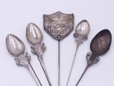A PAIR OF SOUTH AMERICAN SILVER TUPO SHAWL PINS OF SPOON FORM UNITED BY SILVER CHAIN, TWO FURTHER