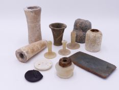 A GROUP OF ANCIENT EGYPTIAN AND OTHER ARTIFACTS, A SMALL SQUAT ALABASTER COSMETIC JAR WITH CLOTH