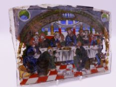 AN ANTIQUE REVERSE PAINTED GLASS PANEL DEPICTION OF THE LAST SUPPER. 26 CM WIDE
