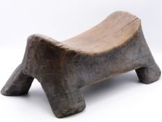 A CARVED WOOD BONGO STOOL, SUDAN , NORTH EAST AFRICA. EARLY 20TH CENTURY. 43 CM WIDE.