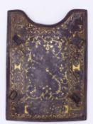 A GOOD INDO PERSIAN SAFAVID CHAR-AINA ARMOUR SIDE PLATE DECORATED IN GOLD KOFTGARI, DAMASCENE