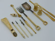 TWO EARLY 19TH CENTURY IVORY MARROW SCOOPS, A PAIR OF IVORY AND SILVER PLATE SALAD SERVERS IN THE