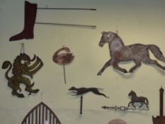 A SHEET IRON WEATHER VANE POINTER IN THE FORM OF A RUNNING DOG AND ANOTHER OF A HORSE TOGETHER