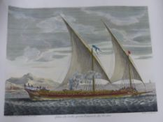 TWO FRENCH HAND COLOURED MARITIME ENGRAVINGS.