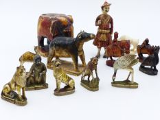 A GROUP OF MIDDLE EASTERN POLYCHROME DECORATED IVORY FIGURES OF ANIMALS TO INCLUDE MONKEY, TWO