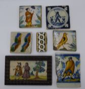 A COLLECTION OF DELFT AND FAIENCE POTTERY TILES, VARIOUS. (QTY)