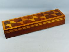 A FINE 19TH CENTURY MAHOGANY AND SPECIMEN WOOD INLAID VIOLIN CASE WITH FITTED INTERIOR. 79 CM WIDE