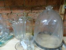 A 19TH CENTURY CUT GLASS HALL LANTERN SHADE TOGETHER WITH TWO GLASS DISPLAY DOMES, A SMOKE BELL,
