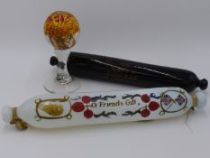 TWO ANTIQUE GLASS PAINT DECORATED ROLLING PINS, A FRIEND'S GIFT & LOVE AND LIVE HAP- TOGETHER WITH A