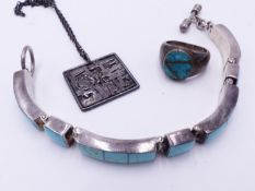 A SILVER AND TURQUOISE BRACELET STAMPED .925 MEXICO AND SIMILAR RING TOGETHER WITH A MODERNIST