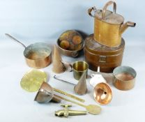 A COLLECTION OF ENGLISH DOMESTIC COPPER AND TIN WARES, VARIOUS