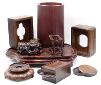 A JAPANESE BAMBOO COPPER LINED BRUSH WASHER AND A COLLECTION OF ORIENTAL HARDWOOD STANDS AND