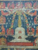 AN EARLY SINO- TIBETAN THANKA DEPICTING BUDDHA WITHIN STUPA SURROUNDED BY DEITIES, LATER FRAMED 61 X